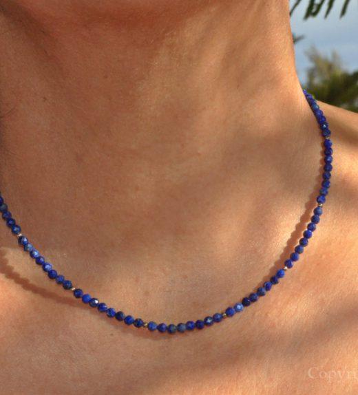 True Blue Ladies 3mm delicate faceted Lapis Lazuli Necklace custom-made by 1STone Art & Design Custom Jewelry Fuerteventura