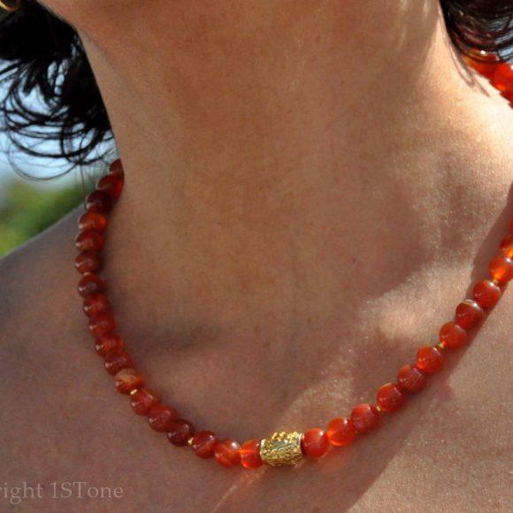 Womens 1ST Carnelian Gemstone Necklace Sweet Orange by 1STone Art & Design Custom Jewelry_DSC_8789-1024x