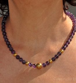 Womens 1ST Gemstone Necklace Amethyst Viola Oro by 1STone Art & Design Custom Jewelry