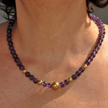 Womens 1ST Gemstone Necklace Amethyst Viola Oro by 1STone Art & Design Custom Jewelry