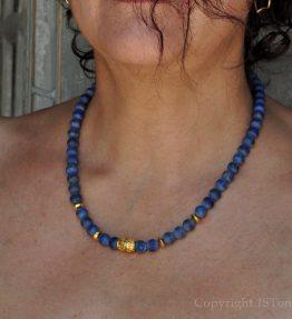 Womens 1ST Gemstone Necklace Lapis Lazuli Royal Blue & Gold inside by 1STone Art & Design Custom Jewelry
