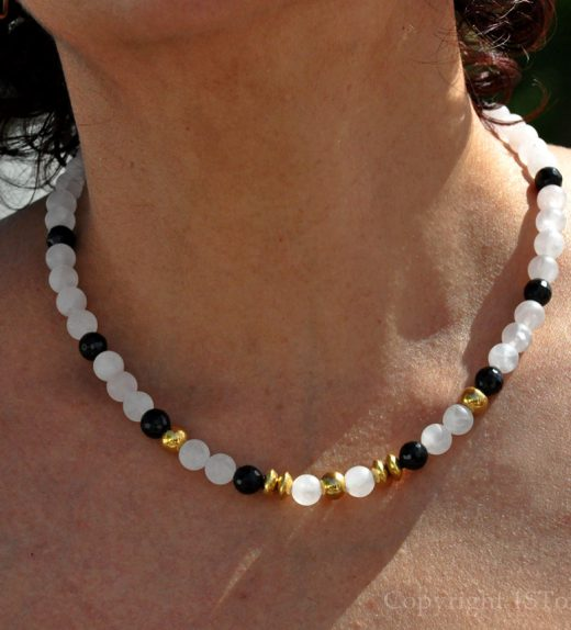 Womens-1ST Gemstone Necklace Rose Quartz matt & black Agate faceted Rosy Black n Gold by 1STone Art & Design
