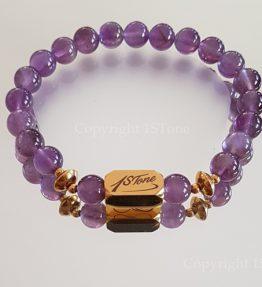 Womens Premium Comfort Amethyst Gemstone Bracelet My Violet Gold Ingot by 1STone Art & Design Custom Jewelry