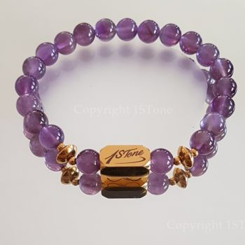 Womens Premium Comfort Amethyst Gemstone Bracelet My Violet Gold Ingot by 1STone Art & Design Custom Jewelry