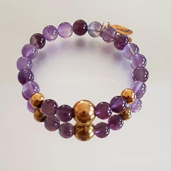 Womens Premium Comfort Amethyst Gemstone Bracelet Viola Oro by 1STone Art & Design Custom Jewelry