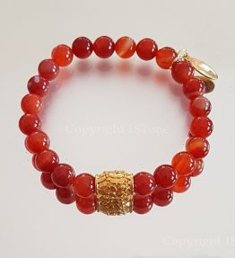 Womens Premium Comfort Carnelian Gemstone Bracelet Sweet Orange by 1STone Art & Design Custom Jewelry_Mirror