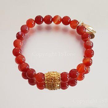 Womens Premium Comfort Carnelian Gemstone Bracelet Sweet Orange by 1STone Art & Design Custom Jewelry_Mirror