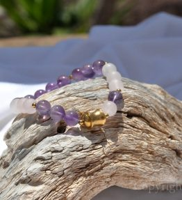 Womens Premium Comfort Rose Quartz Gemstone Bracelet Lilac Rose n Gold by 1STone Art & Design Custom Jewelry