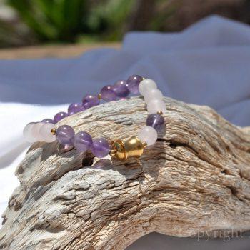 Womens Premium Comfort Rose Quartz Gemstone Bracelet Lilac Rose n Gold by 1STone Art & Design Custom Jewelry