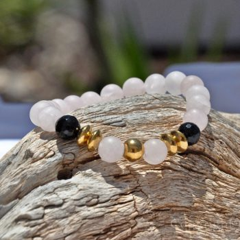 Womens Premium Comfort Rose Quartz Gemstone Bracelet Rosy Black Gold by 1STone Art & Design Custom Jewelry