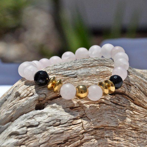 Womens Premium Comfort Rose Quartz Gemstone Bracelet Rosy Black Gold by 1STone Art & Design Custom Jewelry