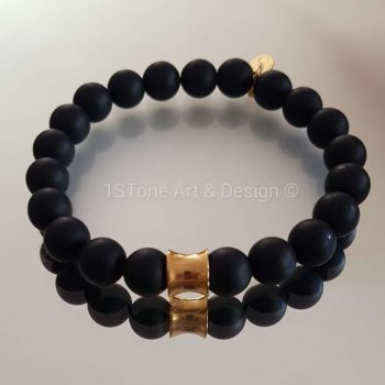 1STone Premium Comfort Gemstone Bracelet Black Friday gold - matt finished Obsidian and Gold Cone -