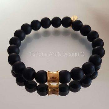 1STone Premium Comfort Gemstone Bracelet Black Friday gold - matt finished Obsidian and Gold Cone -