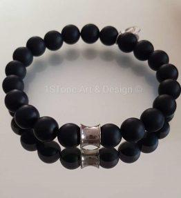 1STone-Premium-Comfort-Gemstone-Bracelet-Black-Friday-silver-matt-finished-Obsidian-and-Silver Cone