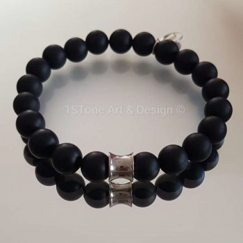 1STone-Premium-Comfort-Gemstone-Bracelet-Black-Friday-silver-matt-finished-Obsidian-and-Silver Cone